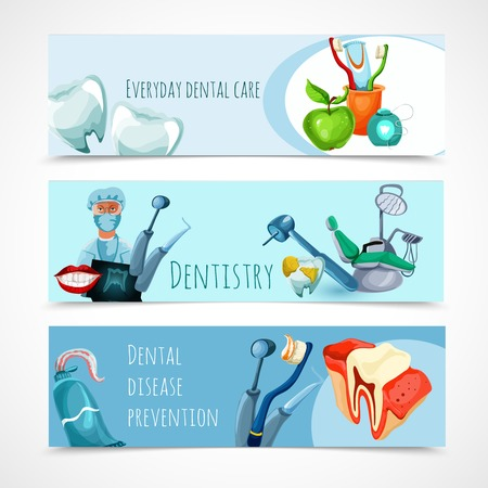 Stomatology horizontal banner set with everyday dental care dentistry dental disease prevention elements isolated vector illustration