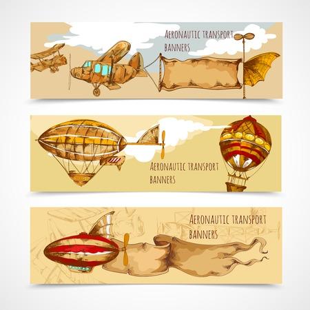 aeronautic: Retro aeronautic transport horizontal hand drawn banners set isolated vector illustration Illustration