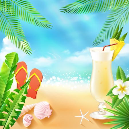Tropical sea travel background with beach cocktail seashell and slippers vector illustration