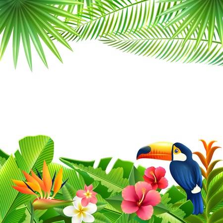 Tropical landscape background with toucan bird and flowers frame vector illustration