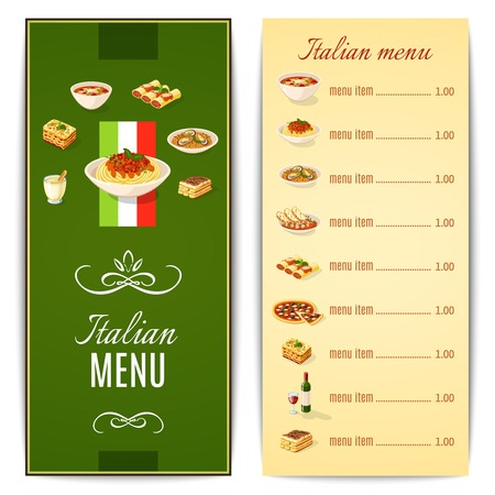 Italian restaurant menu template with traditional food cuisine vector illustration