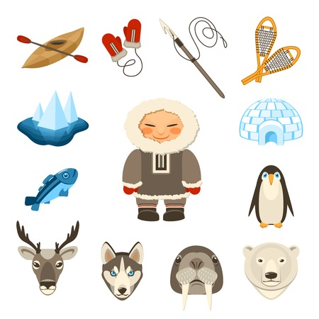 ice fishing: Chukchi and north animals decorative icons set with husky deer bear dog isolated vector illustration