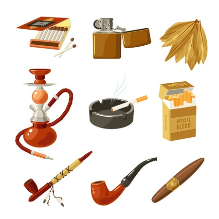 hombre fumando puro: Tabaco y tabaquismo iconos decorativos establecidos con aislados paquete partidos encendedor ilustraci�n vectorial