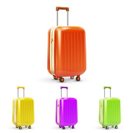Set van gekleurde plastic reizen bagage koffers geïsoleerd vector illustratie