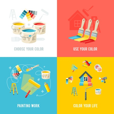 paint gun: Painting work design concept set with color supplies and equipment flat icons isolated vector illustration
