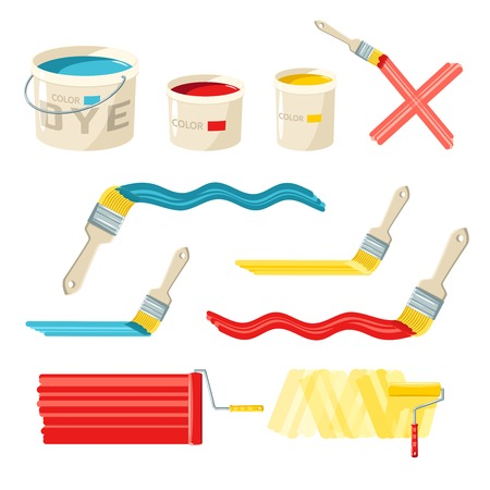 rollerbrush: Roller and paint buckets and color brushes decorative icons set isolated vector illustration Illustration