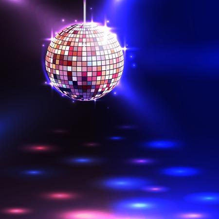 Modern illuminating disco ball sphere with spotlights disco background vector illustration
