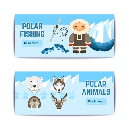 ice fishing: Chukchi horizontal banners set with polar fishing and aminals elements isolated vector illustration Illustration