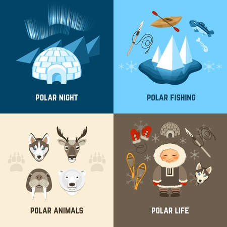 polar life: Chukchi design concept set with polar night fishing animals and life flat icons isolated vector illustration