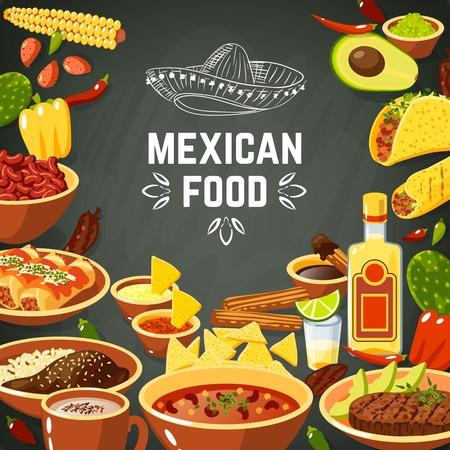 dinner food: Fondo de la comida mexicana con comida picante tradicional y pizarra ilustraci�n vectorial sombrero Vectores
