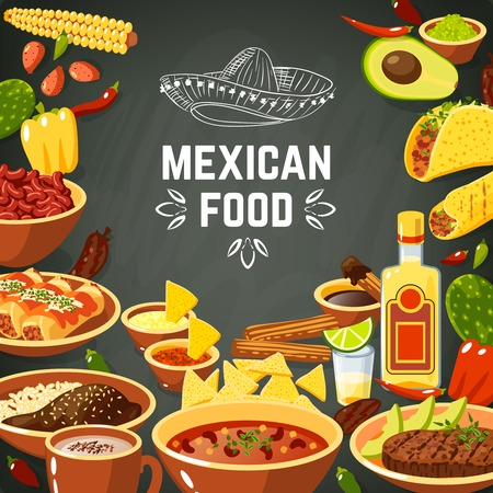 Mexicaans eten achtergrond met traditionele pittige maaltijd en krijtbord hoed vector illustratie