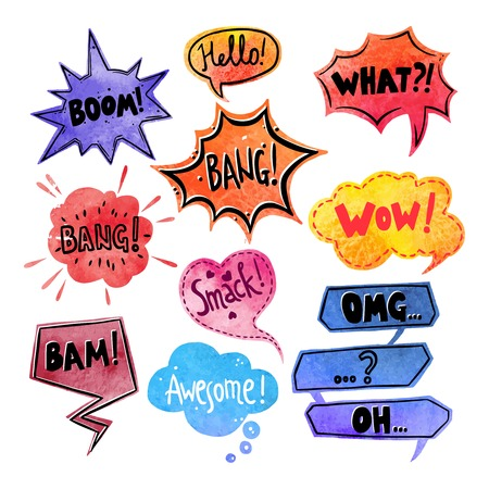 what: Watercolor comics speech bubble with expressions stickers set isolated vector illustration