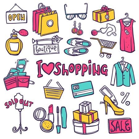compras: Compras dibujado a mano iconos decorativos fijados con s�mbolos comercio aislado ilustraci�n vectorial