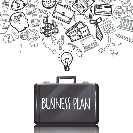 accounting: Garabatos de negocio concepto con el de marketing y contabilidad símbolos y maletín establecer ilustración vectorial Vectores