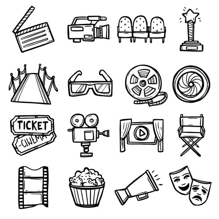 video reel: Cinema and entertainment arts hand drawn decorative icons set with clapperboard camera chairs award isolated vector illustration