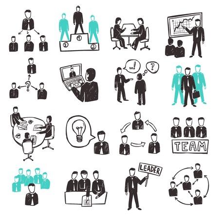 bocetos de personas: Trabajo en equipo iconos fijaron con escenas empresarios bosquejo organizaci�n discusi�n y de asociaci�n aislado ilustraci�n vectorial