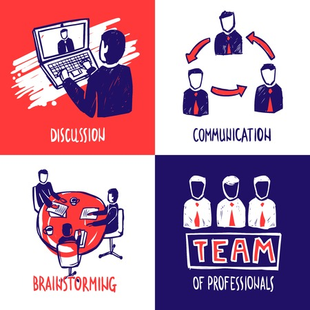 discussion: Teamwork design concept set with discussion communication brainstorming sketch icons isolated vector illustration
