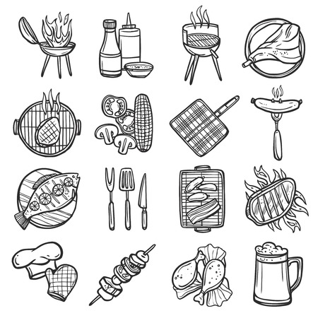 barbecue: Bbq grill sketch decorative icons set with meat sauces and kitchen equipment isolated vector illustration Illustration
