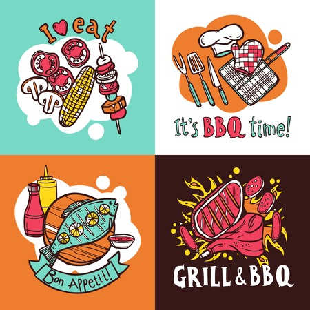 barbeque: Bbq grill design concept set with meat and fish barbeque sketch icons isolated vector illustration