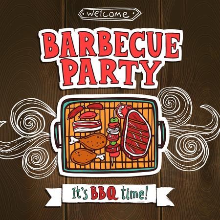 chorizos asados: Cartel del partido de la parrilla de barbacoa con carne boceto y shaslick ilustraci�n vectorial alimentos