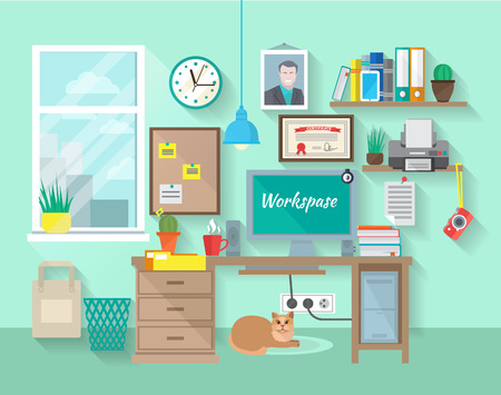office computer: Student or businessman workplace in room with desk computer bookshelf poster vector illustration Illustration