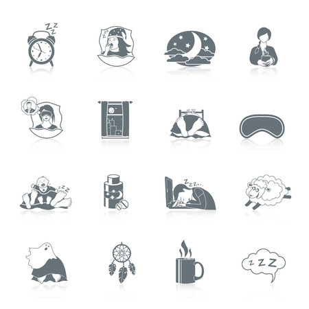 restful: Sleep time black icon set with night window bedroom pillow isolated vector illustration