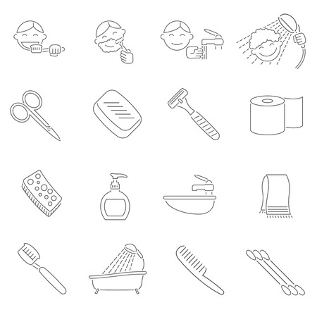 shaving: Personal hygiene decorative icons outline set with razor scissors toothbrush hairbrush isolated vector illustration Illustration