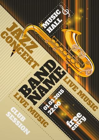 Jazzmuziek uitnodiging concert club poster met saxofoon vector illustratie