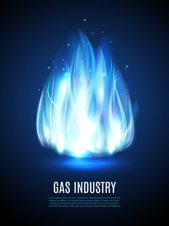gas fireplace: Blue fire flame on dark background with gas industry text vector illustration Illustration
