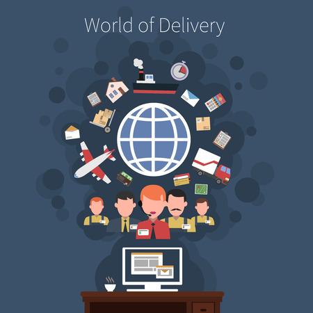 Logística servicio de transporte concepto del cartel de la entrega del envío y la ilustración vectorial cadena de suministro. Foto de archivo - 38304855