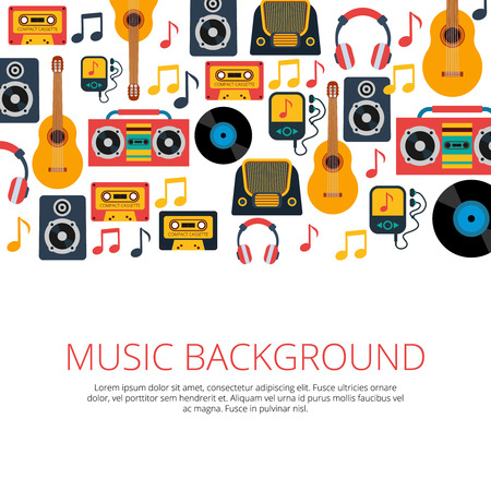 music design: Old retro music vinyl records cd cassette players and notes symbols seamless background banner abstract vector illustration