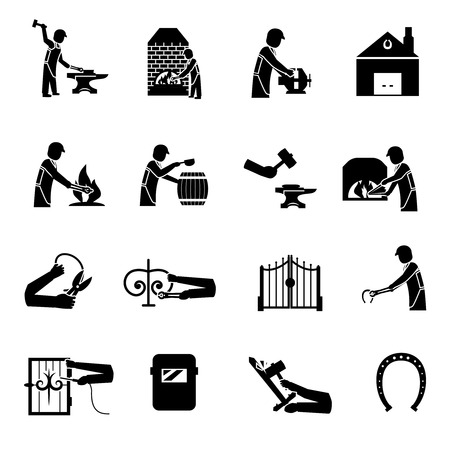 Blacksmith icons black set with man welding molding forging bending metal isolated vector illustration