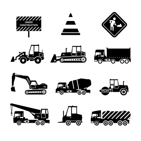 compact track loader: Construction machines and warning signs black decorative icons set isolated vector illustration Illustration