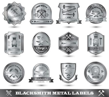 blacksmith: Blacksmith ironwork craft master metal label set isolated vector illustration