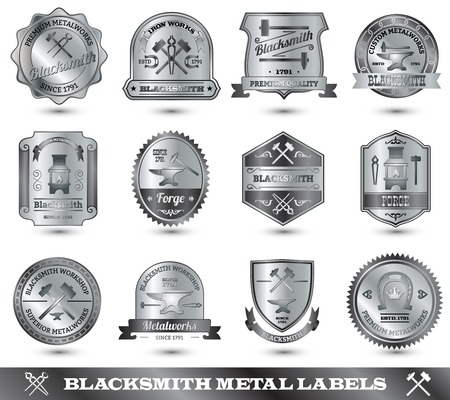 Blacksmith ironwork craft master metal label set isolated vector illustration