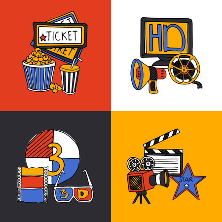 cinematograph: Cinema retro film house tickets 3d glasses with movie projector four flat icons composition abstract vector illustration