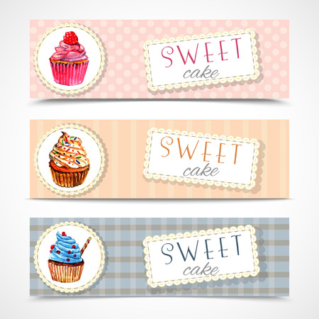 Decorative sweetshop confectionary tags labels set with traditional cupcakes design horizontal banners watercolor abstract vector isolated illustration