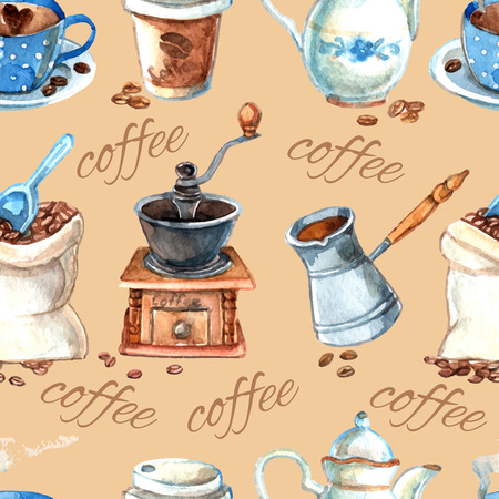 coffee mill: Decorative vintage style hand drawn watercolor coffee set items with cezve and grinder seamless pattern vector illustration Illustration