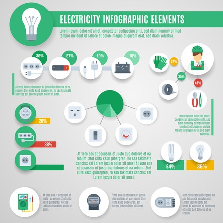 electrician: Electricity infographics set with professional electrician tools and charts vector illustration Illustration