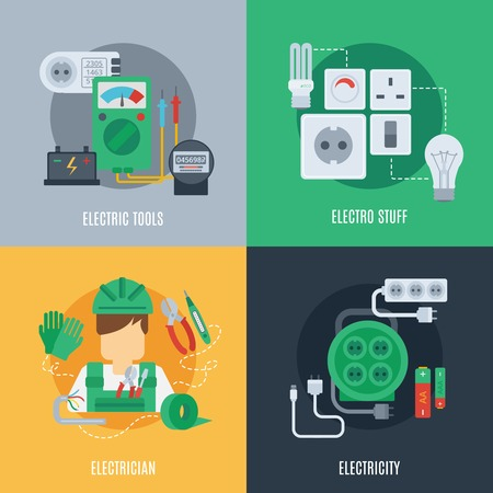 Electricity design concept set with electric tools electrician stuff flat icons isolated vector illustration