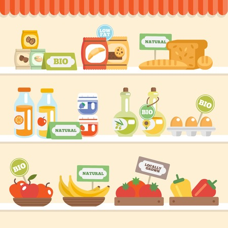 shelves: Bio eco natural food collection on supermarket shelves vector illustration