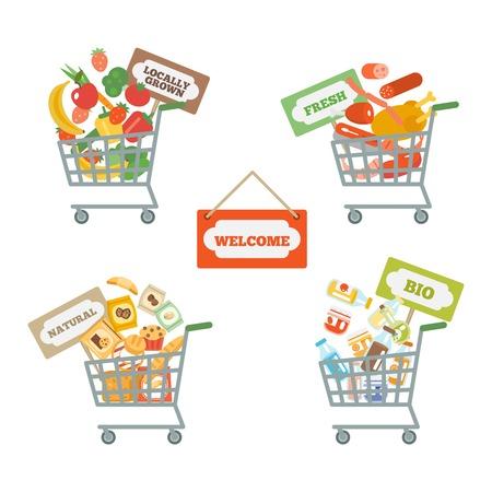 supermarket shopping cart: Supermercado cesta de la compra iconos decorativos establecidos con signos de alimentos y comercio aislado ilustraci�n vectorial