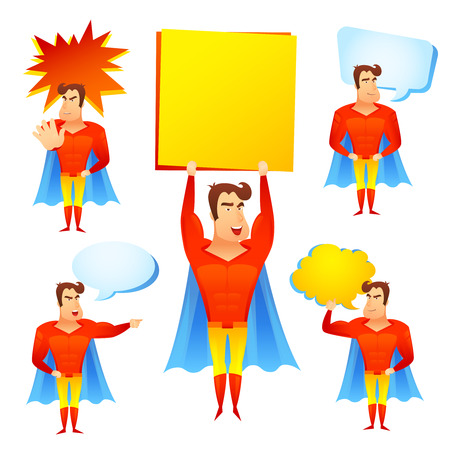 Favorite fictional children superhero cartoon character with speech bubbles and blue cape icons set abstract vector illustration Vector