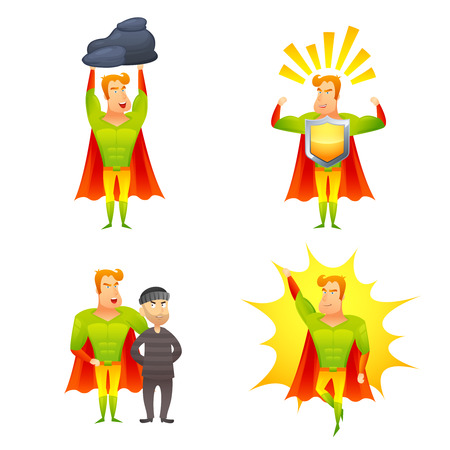 superhuman: Favorite fictional children superhero cartoon character with protective shield radiating power icons set abstract isolated vector illustration