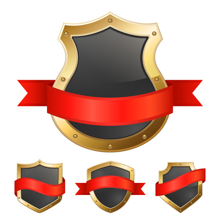 white background'abstract: Black protection shield in golden frame with red ribbon icons composition on white background abstract vector illustration Illustration