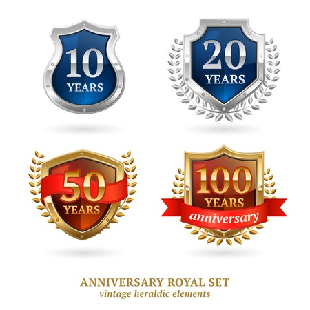 dignity: Anniversary vintage golden and silver framed heraldic protection shield emblems labels icons set abstract vector isolated illustration