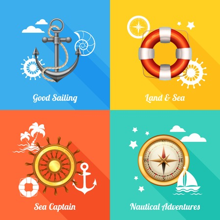 4 wheel: Vintage marine nautical concept 4 flat icons composition with anchor compass and steering wheel abstract vector illustration