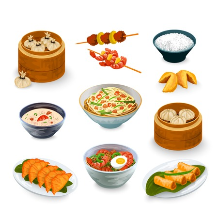 fried shrimp: Asian food decorative icons set with fortune cookies isolated vector illustration