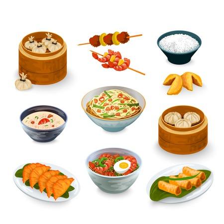 arroz chino: Iconos decorativos de comida asi�tica establecidos con galletas de la fortuna ilustraci�n vectorial aislado