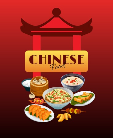 fried noodles: Asian food poster with chinese gates and traditional dishes vector illustration